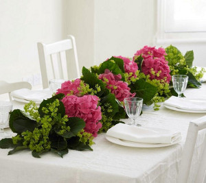 Summer Wedding Hydrangea Table Garland
