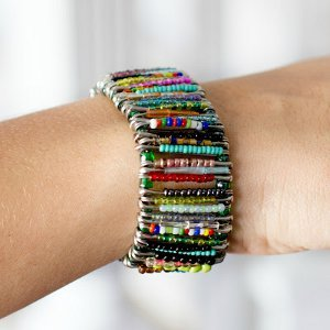 Seed Bead Safety Pin Bracelet