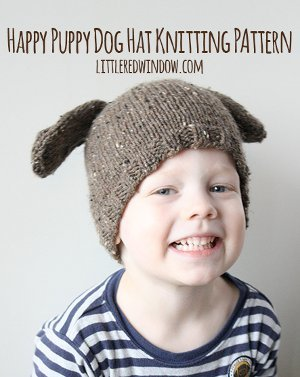 Happy Puppy Dog Hat Knitting Pattern
