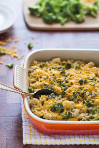 Healthy Cheesy Chicken Broccoli Rice Casserole