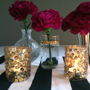 Glitz and Glam Sequined Candle Centerpieces