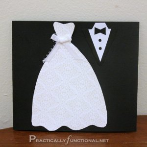 Dress and Tux Trifold Wedding Card