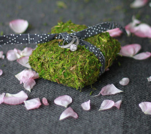 One-of-a-Kind DIY Moss Ring Pillow