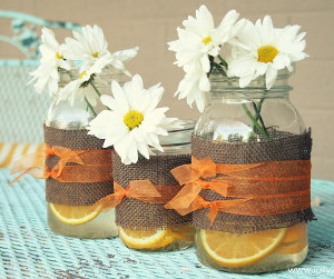 Cheerful Citrus and Burlap Mason Jars
