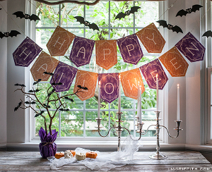 Happy Halloween Printable Banner and Bats