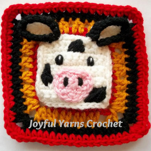 Charming Cow Square Applique
