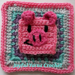 Pleasing Pig Granny Square Applique