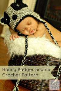 Honey Badger Crochet Beanie