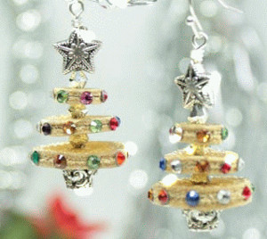 Lively Leather Christmas Tree Earrings