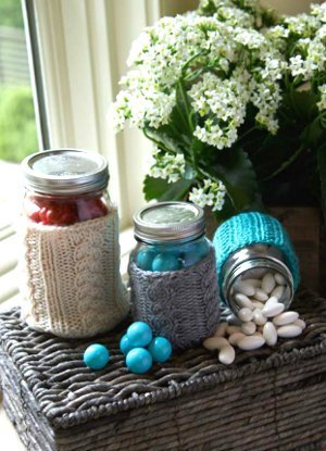 Cable Stitch Jar Cozies