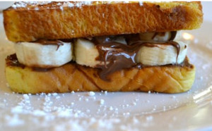 Chocolate-Hazelnut and Banana Breakfast Sandwich