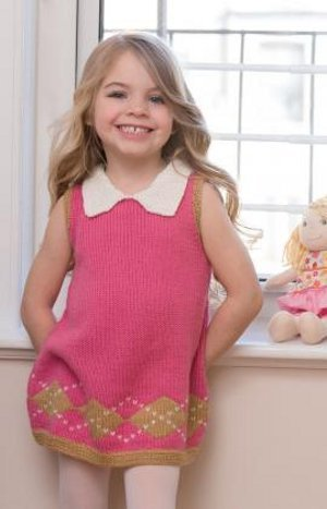 Girl's Stockinette Argyle Dress