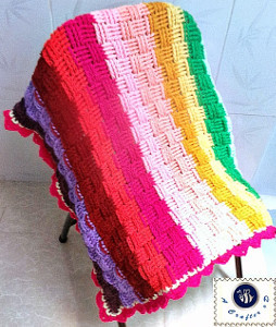 Rainbow Basket Weave Baby Blanket