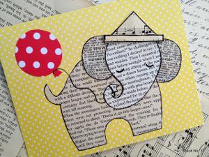 Adorable Ephemera Elephant Card
