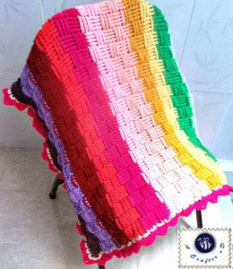 Rainbow Basketweave Baby Blanket
