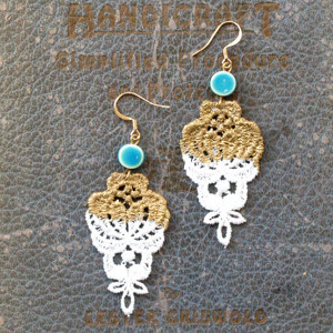 Dipped in Gold Lace Earrings