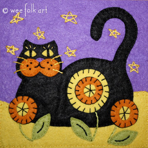 Halloween Black Cat Quilt Block