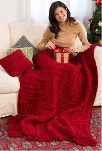 Holly Berries Cable Crochet Throw and Pillow