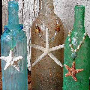 Old Textured Beach Bottles