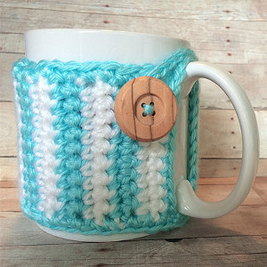 Button Striped Crochet Cozy