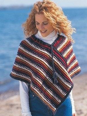 Knitting Pattern Striped Poncho : Rustic Stripes Poncho AllFreeKnitting.com