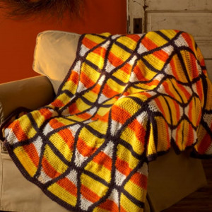 Candy Corn Crochet Throw
