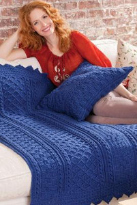 Blueberry Mornings Basket Weave Crochet Afghan and Pillow