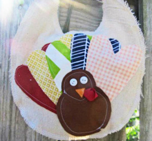 Scrappy Turkey Baby Bib