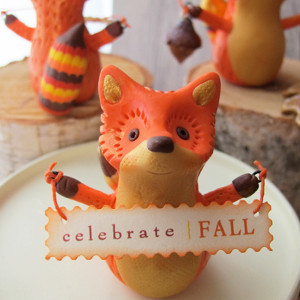 Orange Pumpkin Fox Figurine