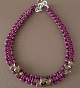 Purple Silk Braided Necklace