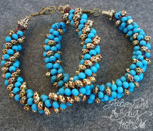 Beautiful Blue Beaded Kumihimo Bracelet
