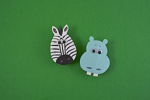 Clothespin Hippo and Zebra Magnets