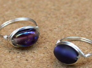 Moonlit Purple Wire Wrapped Rings