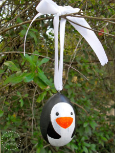 Painted Penguin Wood Ornaments