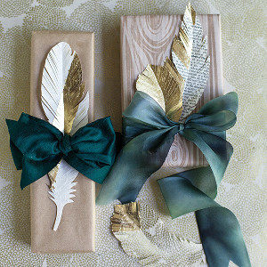 Winter Wedding Gold Paper Feathers