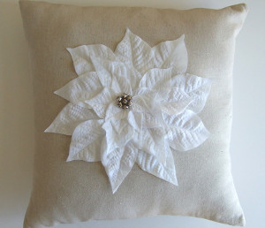 Chic Burlap Poinsettia Pillow