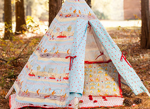 Fox Teepee, Baby Quilt with Pom Poms, Pillows