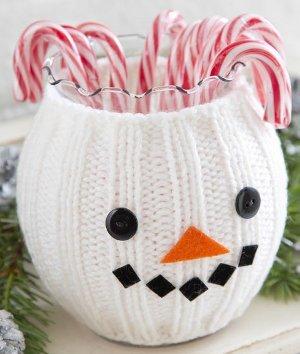 Smiling Snowman Jar Cozy