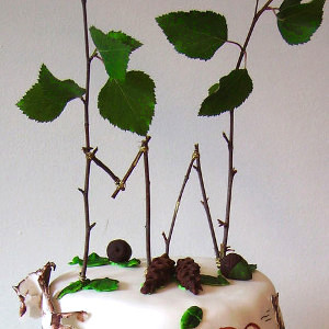 Rustic Romance Leafy Cake Topper