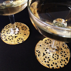 Gold Lace Champagne Glasses