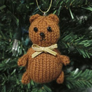 Tiny Teddy Knit Ornament