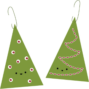 Printable Evergreen Tree Christmas Ornaments
