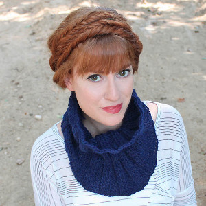 True Blue Ribbed Cowl