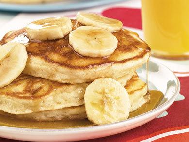 Banana Pancakes with Golden Banana Syrup | MrFood.com