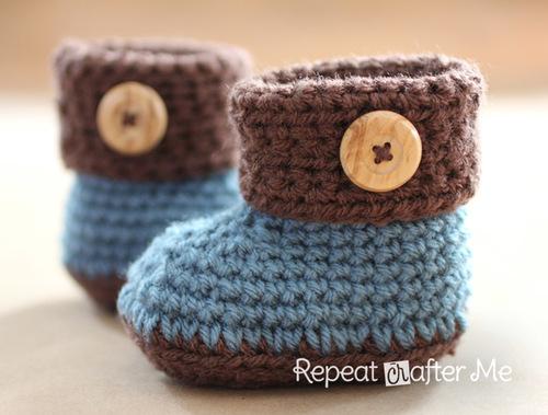 Cuffed Baby Booties | AllFreeCrochet.com
