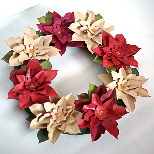 How To Make A Paper Poinsettia Wreath Allfreepapercrafts Com