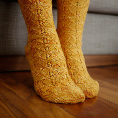 Toe Up Gingko Leaf Socks