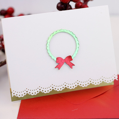Elegant and Simple Wreath Christmas Card IMR