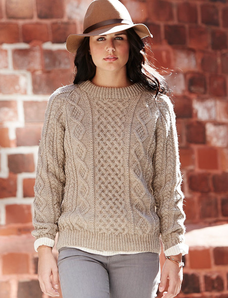 7bf15d7571365b Oats and Honeycomb Cabled Pullover