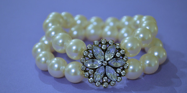 DIY Rhinestone and Pearl Statement Bracelet
